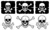 Set of Skulls and Crossbones isolated over white background. Freehand drawing human skulls. Vector illustration. poster