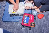 cpr with aed training dummy basic life support course poster