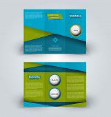 Brochure template. Business trifold flyer.  Creative design trend for professional corporate style. Vector illustration. Blue and green color. poster