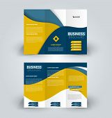 Brochure template. Business trifold flyer.  Creative design trend for professional corporate style. Vector illustration. Blue and yellow color. poster