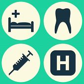 Drug Icons Set. Collection Of Peck, Polyclinic, Dental And Other Elements. Also Includes Symbols Such As Medical, Infirmary, Medicament. poster
