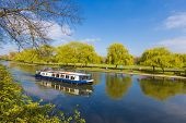 local cruise tour boat cruising along a river at Stratford upon Avon Warwickshire Enagland near Holy Trinity Church on a clear blue sky day poster