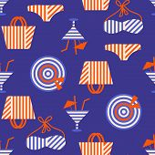 Summer beach seamless pattern with bikini and cocktails. 80s, 90s retro style. Fashion textile design, geometric shapes. Vector illustration poster