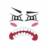 Fury emoji emoticon or smiley face character. Funny facial expression, cute comic face isolated vector illustration. poster