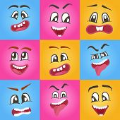 Smiley faces with different facial expressions. Emoji vector characters set, emoticon collection. Happiness, anger, joy, fury, sad, playful, fear, surprise smiley, eyes and mouth, funny comic faces. poster