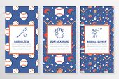 Baseball, softball sport game brochure template, flyer. Vector trifold colored blue background. Equipment thin line icons - bats, balls, field. Illustration for team poster. poster