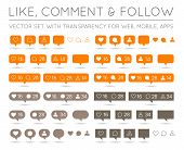 Vector Like, Follower, Comment Icon Set in EPS poster