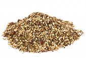 Zaatar-  a blend of herbs, sesame seeds and salt in pile on white background poster