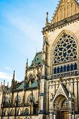 New dome (Mariendom) gothic cathedral in Linz Upper Austria main portal view architectural details tourist attraction famous sightseeing place selective focus poster