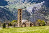 Spain Catalonia Bohi Valley Pyrenees. Romanesque church. poster