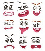 Emoji characters set with different expressions. Happiness, anger, joy, fury, sad, playful, fear, surprise smiley, eyes and mouth, funny comic faces. Cartoon cute emoticon isolated vector illustration poster