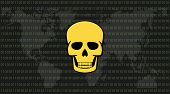 global attack ransomware skull with binary code background and world map vector poster