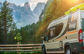 Class B Motorhome Trip in European Alps. Scenic Mountain Camping in the Camper. poster