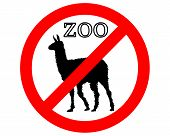 Detailed and colorful illustration of lama in zoo prohibited poster