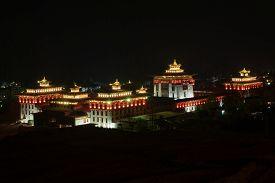 night landscape view of Trashi Chho Dzong Thimphu Bhutan