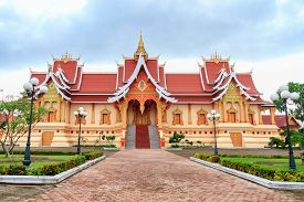 Wat Pha That Luang, Vientiane, Laos in cloudy day