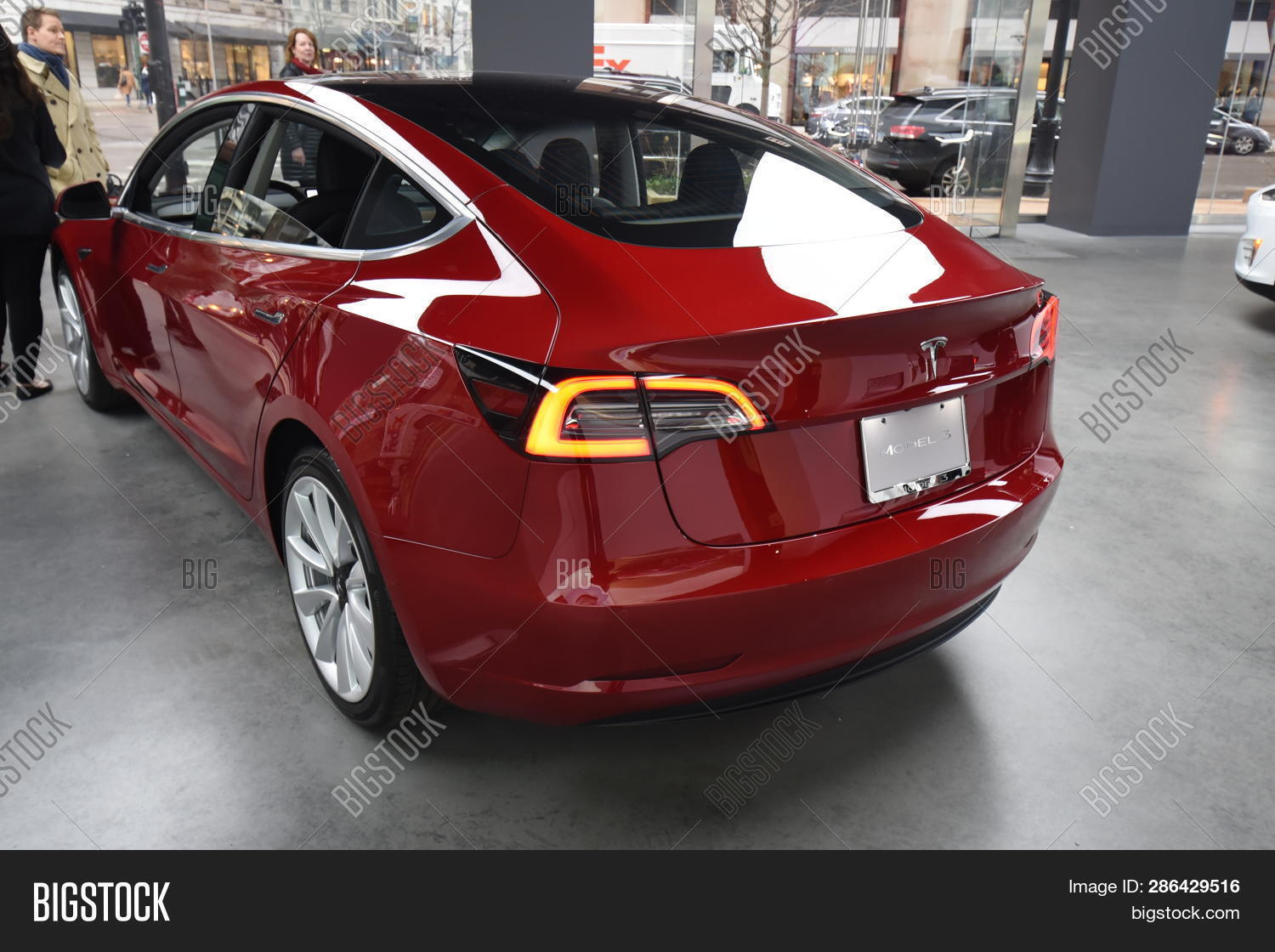 Car Dealerships In Chicago >> Tesla Red Model 3 All Image Photo Free Trial Bigstock