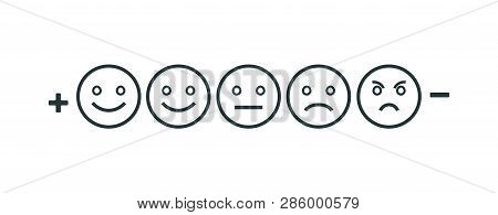 Rating Feedback Scale Isolated Line Emoticon Concept. Emotion Rating Feedback Opinion Positive Or Ne