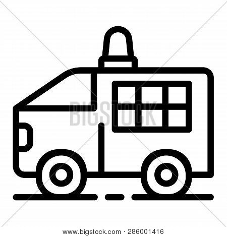 Police Truck Icon. Outline Police Truck Vector Icon For Web Design Isolated On White Background