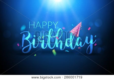 Happy Birthday Typography Vector Design Template Poster. Greeting Card Confetti Glowing Shining Bann