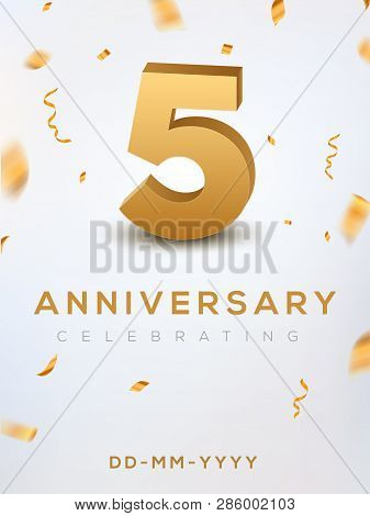 5 Anniversary Gold Numbers With Golden Confetti. Celebration 5th Anniversary Event Party Template.