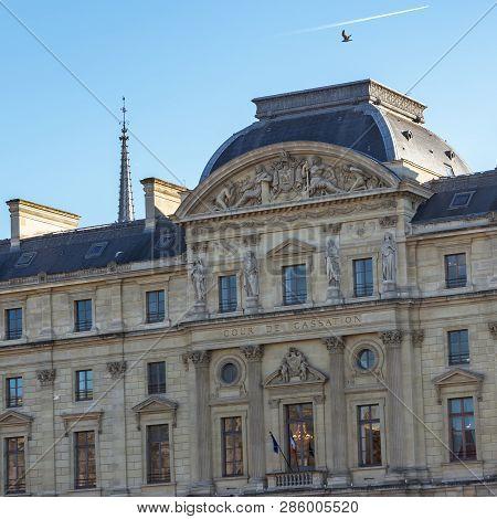 Paris, France, February 13, 2019: Official Building Of Cour De Cassation -court Of Cassation- In Par