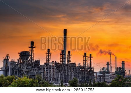 Landscape Of Oil And Gas Refinery Manufacturing Plant., Petrochemical Or Chemical Distillation Proce