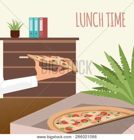 Pizza In Delivery Box At Office Workplace Banner. Lunch Time At Coworking Space. Italian Food In Ope