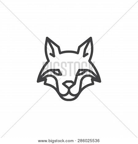 Fox Head Line Icon. Linear Style Sign For Mobile Concept And Web Design. Coyote Outline Vector Icon.