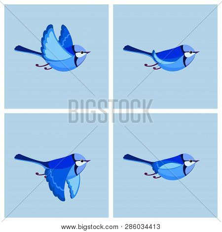 Vector Illustration Of Cartoon Flying Splendid Fairy Wren (male) Sprite Sheet. Can Be Used For Gif A