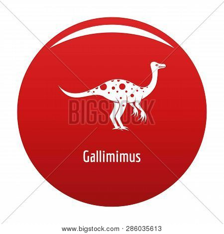 Gallimimus Icon. Simple Illustration Of Gallimimus Vector Icon For Any Design Red