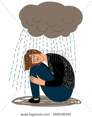 Depressed Girl. Cartoon Depressive Woman And Crying Rain, Ill Sorrow Miserable Unhappy Woman Depress