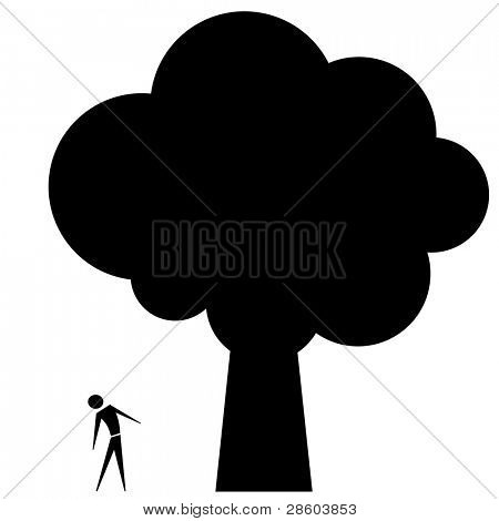 admiring big tree, vector pictogram