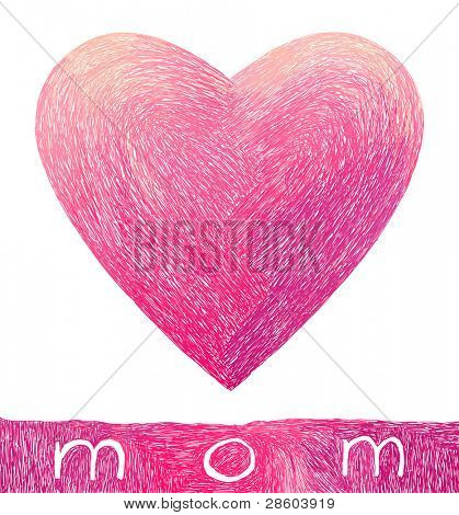 Hand-drawn heart for mom, vector illustration