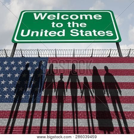 United States Wall And Immigration Border Security For Immigrants Or Illegal Immigrants To America A