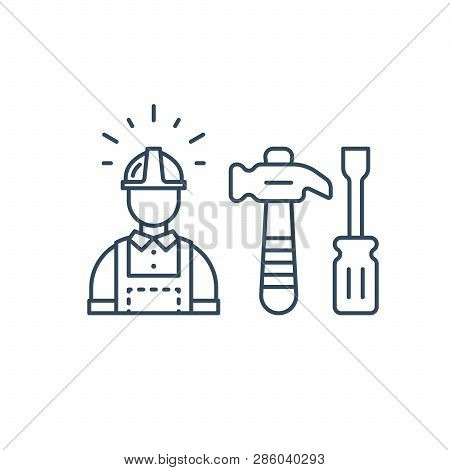 Construction Worker In Hard Hat And Jumpsuit, Builder In Uniform, Contractor Man, Manual Labor, Hamm