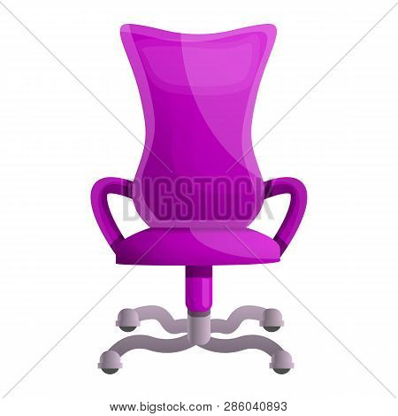 Pink Desk Chair Icon. Cartoon Of Pink Desk Chair Vector Icon For Web Design Isolated On White Backgr