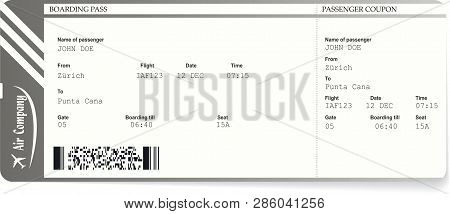 Modern And Realistic Airline Ticket And Boarding Pass Design With Unreal Flight Data And Passenger N
