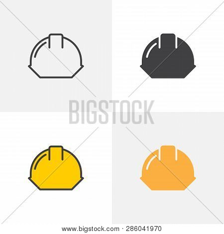 Hard Hat Icon. Line, Glyph And Filled Outline Colorful Version, Safety Helmet Outline And Filled Vec