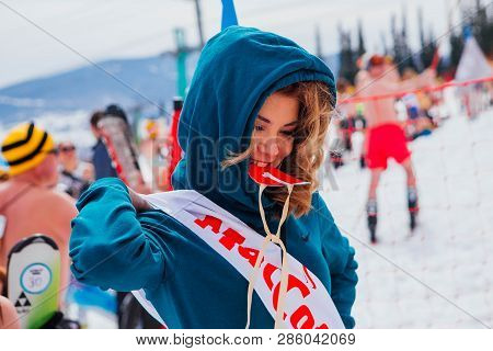 Sheregesh, Kemerovo Region, Russia - April 14, 2018: Young Woman On A Slope