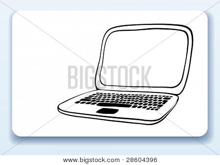 laptop, business card