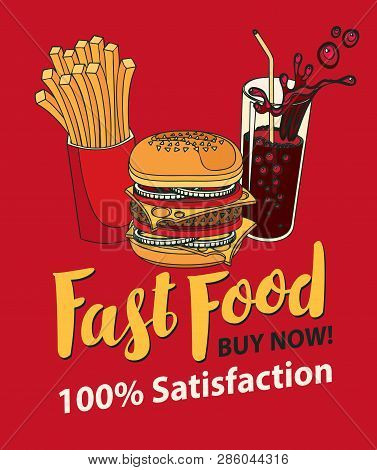 Vector Banner For Fast Food With Burger, French Fries And Cola In Retro Style. Pop Art Illustration