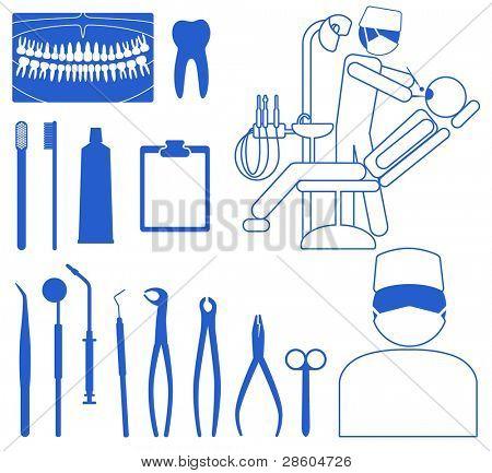 dentist, medical icon set poster