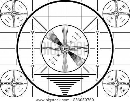 Vintage Tv Test Screen. Black Ans White Television Calibration Pattern.