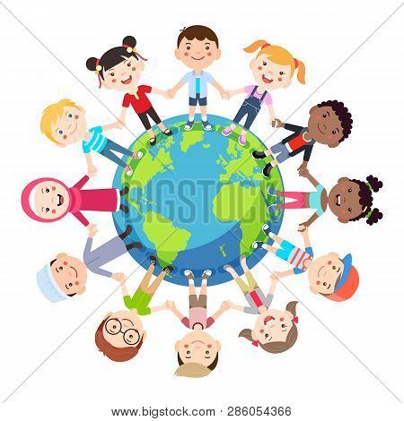 Kids Love Globe Conceptual. Groups Of Children From All Around The World Join Hands Around The Globe