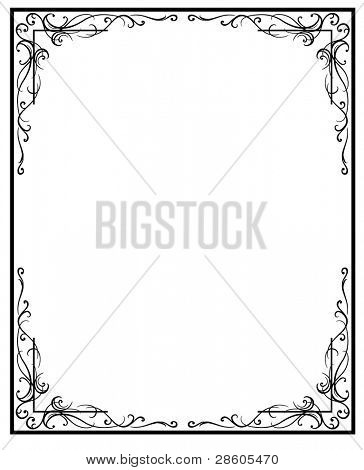 Vintage frame. Black silhouette