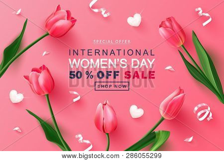 8 March Happy Womens Day Sale Banner. Beautiful Background With Tulips, Hearts And Serpentine. Vecto