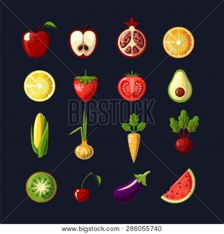 Healthy Food Colored Flat Icon Set. Fruits And Vegetables In One Set, Colored Flat Fresh Healthy Foo