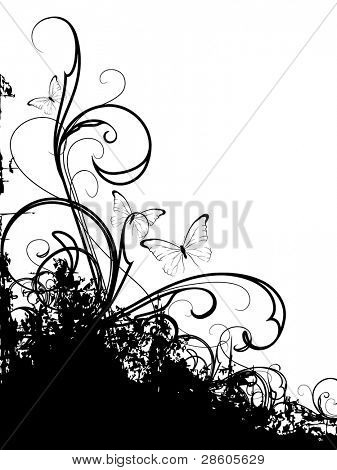 Black vector ornament with butterflies