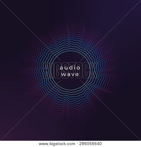 Sound Circle Wave. Abstract Music Ripple, Audio Amplitude Waves Flux Vector Background. Illustration